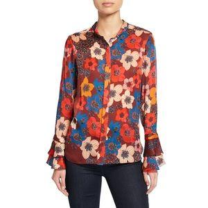 Elie Tahari Safiya Silk Floral Blouse